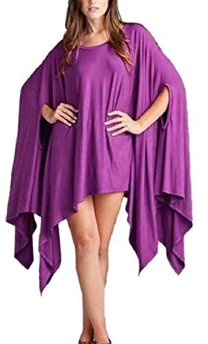 QianQian High Dress Batwing AU Low 7 Colored Hem Sheath Oversized Women Solid Z4qZxw7r