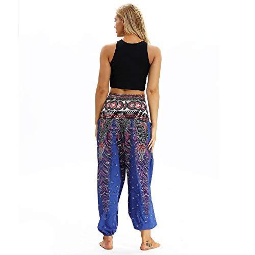 Xmiral Pants Women Baggy Yoga Harem Trousers Loose Boho Men Polyester Trousers Print Casual Blue2 Pants Hippy rOf8qdrw