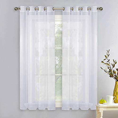 NICETOWN Sheer Window Panel Curtains - Grommet Top Sheer Drapes for Windows (2-Pack, 54 Wide x 63 inch Long, White)