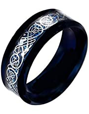 Plated silver Ring Dark Golden Dragon Inlay Background Fashion Men Fluorescent Glowing Rings