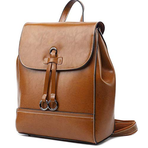 Women Crazy Horse Leather Real Leather Work Shoulder Bag Handbag Backpack Satchel Retro Style ()