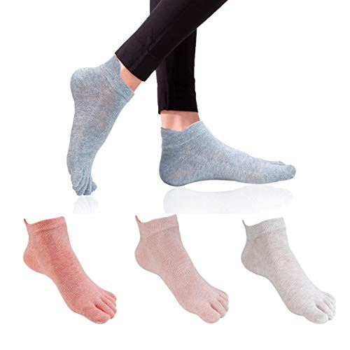 Women's Toe Socks 5 Fingers No Show Cotton Mesh Wicking Athletic Running walking Socks 4 Pack By Cosfash (CF-toes socks-01)
