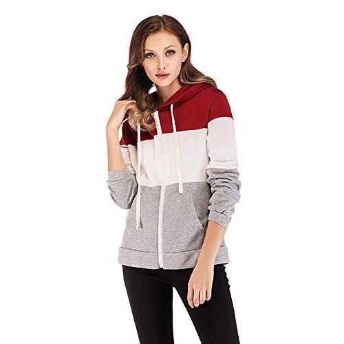 Women Long Sleeve Autumn Colorblock Patchwork Zipper Pocket Hoodie Outwear - Colorblock Zipper