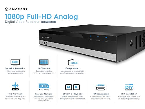 Amcrest ProHD 1080P 16CH Video Security DVR Digital Recorder, 16-Channel 1080P, Supports 960H/HDCVI/HDTVI/AHD/Amcrest IP, HDD & Cameras NOT Included, Remote Smartphone Access (AMDV108116-H5)