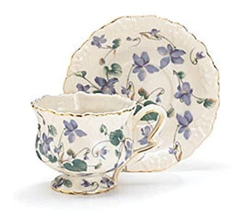 - Teacup and Saucer Gift Boxed Set Lavender Violets Fine Porcelain Hand Painted Gold Trim Burton