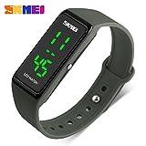 SKMEI LED Sport Digital Wrist Watch 50M Waterproof for Kids Boys Girls Men Women Silicone Bracelet Watch (Army Green)