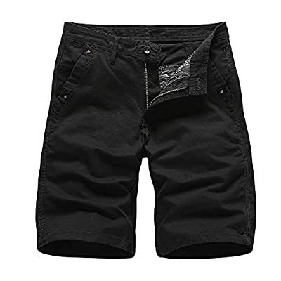 N/ A Cargo Shorts for Men, Xalutec Men's Cargo Shorts Elastic Waist Twill Relaxed Fit Multi-Pockets Outdoor Casual Shorts: Clothing