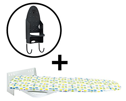 Wall-Mounted Ironing Board - Additional Iron Rest - Durable, Safe and Stable - Easy to Mount and Use - Swivels 90° in Both Directions - Stylish Design by Primica