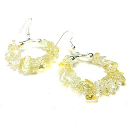 Gemstone Chip Hoop Earrings 25mm - Yellow (Semi Hoop Wire Earrings)