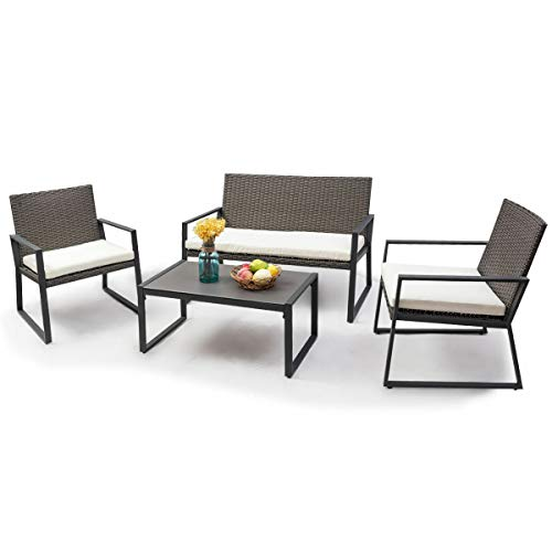 - AK Energy 4pc Rattan Outdoor Gray Patio Chair Bench Sofa Couch Glass Top Coffee Table Furniture Set w/Cushion Zippered Cover