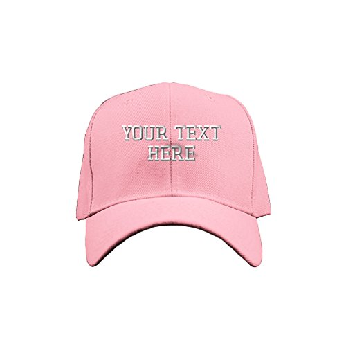 One Baseball Cap Pink (Personalize Your Custom Text On Unisex Adult Hook & Loop Acrylic Adjustable Structured Baseball Hat Cap - Soft Pink, One Size)