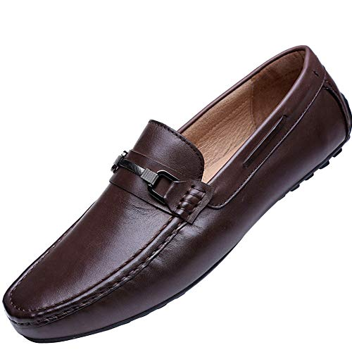 Cassa Leeni Men's Driving Shoes Loafer Slip On Shoes for Formal Dress Casual Leather Shoes