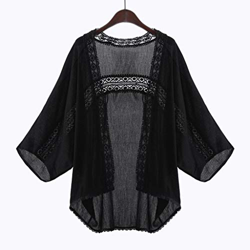Cardigan Nero Cappotto Donna Lace Casuali Wyxlink Kimono Camicetta l Nero Giacca Signore 4wqZFf