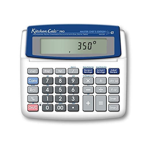 Calculated Industries 8305 KitchenCalc PRO Recipe Conversion and Culinary Math Calculator with 2 Digital Timers for Chefs, Culinary Students, Home Cooks, Bakers, Brewers and BBQers   Recipe Scaling   Menu Planning   Portion Sizing from Calculated Industries