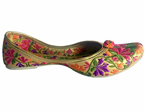 Punjabi Shoes Multicoloured Wedding Shoes Mojari Saree Shoes Khussa Flat Step Jutti n Style Jooti TEqOwAH