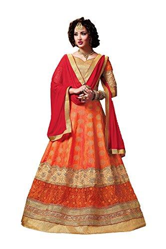 PCC Indian Women Designer Wedding Orange Lehenga Choli Fabz-2597