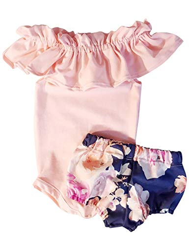 (Newborn Baby Girl 6 9 12 18 Months Jumpsuit Bodysuit Pink Sleeveless Ruffles Off-Shoulder Romper +Floral Shorts Outfit Set 0-6 Months)