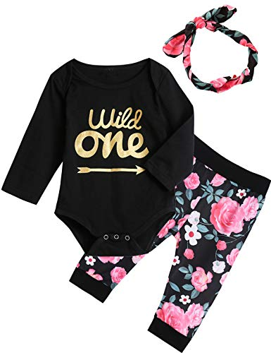 3Pcs Outfit Set Baby Girls Wild One Floral Pant Clothing Set (Black Wild one, 12-18 -