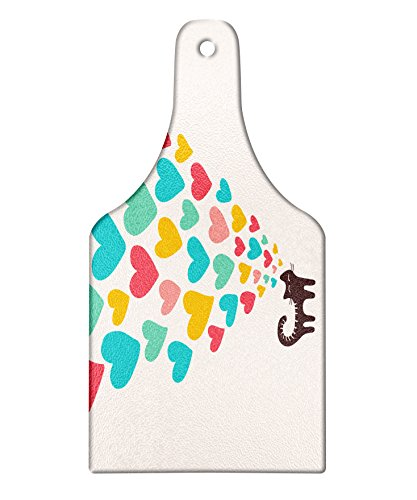 Clipart Heart Shape - Lunarable Cat Lover Cutting Board, Cute Cat in Love with Colorful Different Size Hearts Happy Sweet Kitty Clipart, Decorative Tempered Glass Cutting and Serving Board, Wine Bottle Shape, Multicolor
