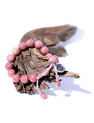 Premium Rhodonite Pink Mala Beads Bracelet for Women - 8mm Mala Bead Bracelet for Women - Beaded Bracelet - Gemstone Bracelet - Adjustable