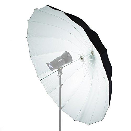 Fovitec - 1x 6 ft. White/Black Speedlight Reflector Umbrella - [Fiberglass Rods][Collapsible][EZ Set-Up][Lightweight][Durable Nylon]