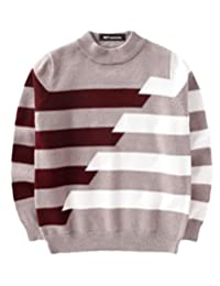 MFrannie Boys Crossed Stripe Vintage Thick Crew Neck Knitted Sweater