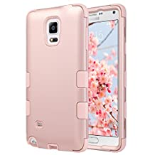 Note 4 Case, Galaxy Note 4 Case, ULAK [Colorful Series] Shock Resistance 3in1 Anti Slip Note 4 Case Hybrid With Soft Flexible Inner Silicone Skin Protective Case Hard Cover(Rose Gold)