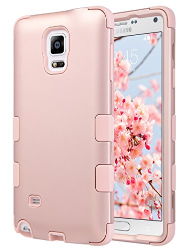 ULAK Note 4 Case, Galaxy Note 4 Case, Shock Resistance Anti Slip Note 4 Case Hybrid with Soft Flexible Inner Silicone Skin Protective Case Hard Cover(Rose Gold)