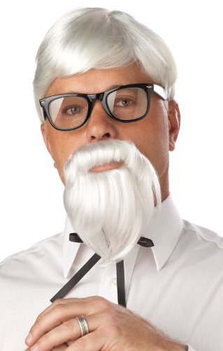 California Costumes The Colonel Wig And Moustache, White, One Size (Costume Ideas For Men With Beards)