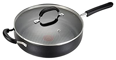 T-fal C08582 OptiCook Thermo-Spot Titanium Nonstick Dishwasher Safe Oven Safe Jumbo Cookware Saute Pan Cookware, 5-Quart, Black