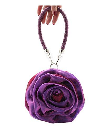 poignet Main Femme Violet UK Sac Forme Sac Violet à Casual de Argent Soirée Pochette stone Sac Mariage Fleurs qw55axnOIP