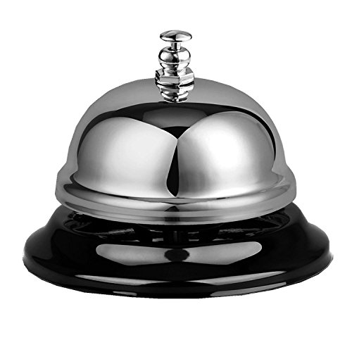 (TOPFAST Hotel Service Restaurant Call Bells for Stainless Steel Non-slip Base Chrome Finish Desk Bell)