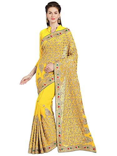 Sourbh Indian Women Saree Bollywood Wedding Collection Dress Wear (9720_Yellow)