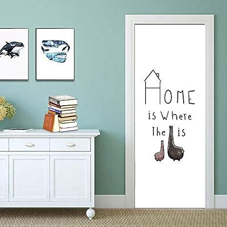 BLOUR Flor Plume Alpaca Cartel Creativo de la Puerta PVC Etiqueta de la Puerta 3D Decoración del hogar Muebles Armario Armario Renovación Papel Tapiz Popular