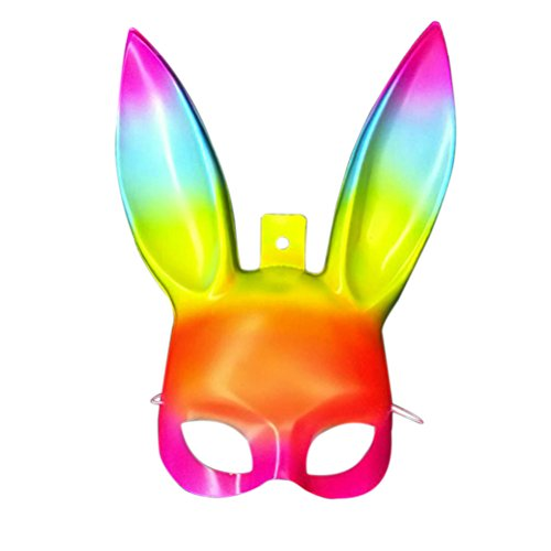 LUOEM Easter Bunny Mask Half Face Rabbit Mask Masquerade Mask Costume Accessory (Rainbow Color) -