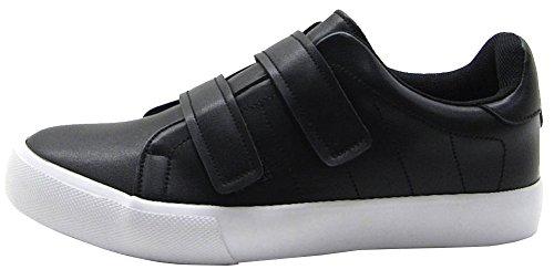 Soda Womens Closed Round Toe Velcro Strap Platform Flatform Low Top Sneaker Black Pu dxvPf9eho