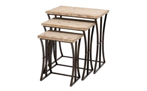 Nesting Traditional Table (Benzara Metal Wood Nesting Table Accent Collection, 26-Inch/22-Inch/19-Inch, Set of 3)