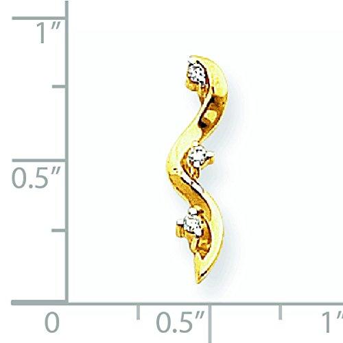Brut 14 carats pendentif trois pierres diamant JewelryWeb