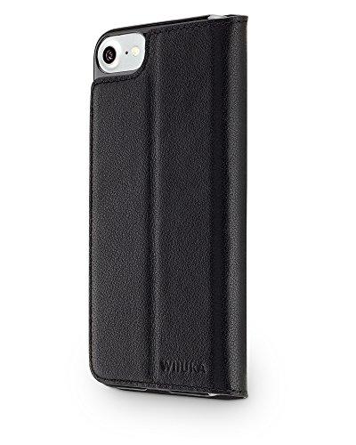 """WIIUKA Echt Ledertasche """"TRAVEL"""" Apple iPhone X mit Kartenfach extra Dünn Tasche Schwarz Premium Design Leder Hülle"""
