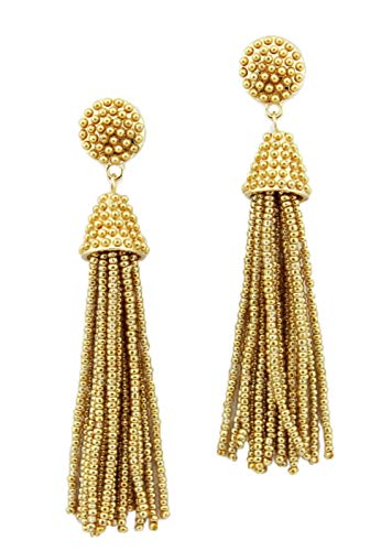 stylesilove Womens Fashion Handmade Hand Beaded Tassels Long Earrings (Gold)