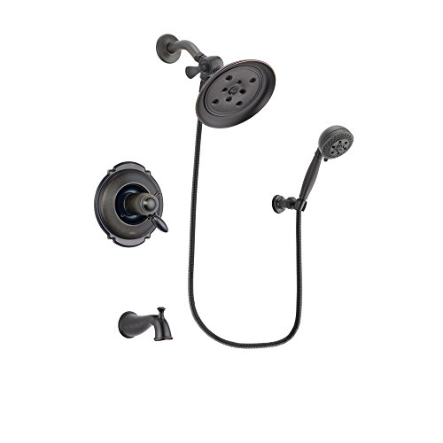 Delta Victorian Venetian Bronze Thermostatic Tub and Shower Faucet System with Large Rain Shower Head and 5-Setting Wall Mount Handheld Shower Spray Includes Rough-in Valve and Tub Spout DSP2803V