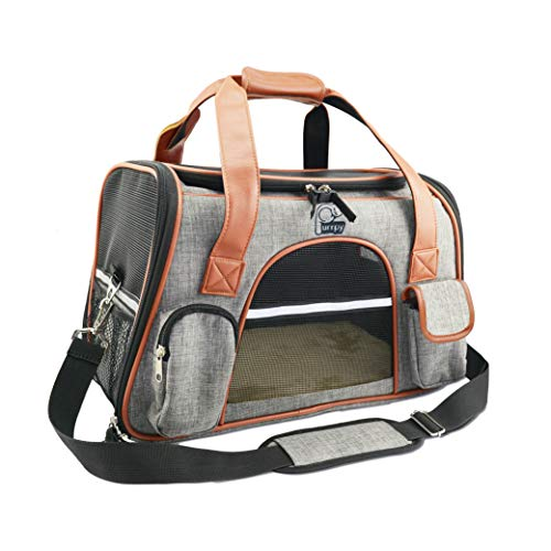 Airline Approved Pet Carrier Soft Sided for Cats and Small Dogs Portable Cozy Travel Pet Bag Light Grey