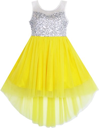 JD21 Girls Dress Sequin Mesh Party Princess Tulle Shiny Glitter Size 7,Yellow,