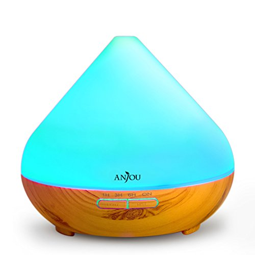 Essential Oil Diffuser 300ml Anjou Aromatherapy Diffuser Ultrasonic Aroma Humidifier (Up to 8H Use, Mist Control, Waterless Auto Shut-Off, 4 Timer Settings, 7 Color LED Lights, BPA-free)