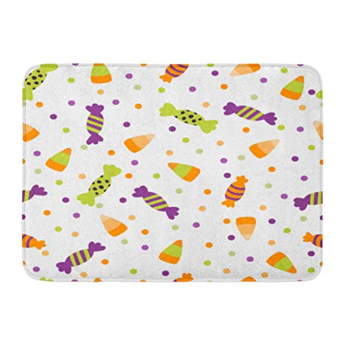 (Emvency Bath Mat Black Border Halloween Trick Treat Candies Bright Sweets in The Traditional Colors Colorful Cute Bathroom Decor Rug 16