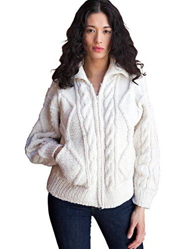 Women's Wool/Cotton Blend Otavalo Cableknit Cardigan Sweater,White,XL ()