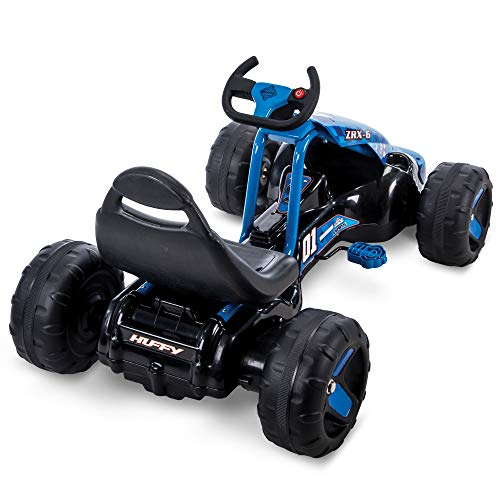 41Gmk2chBNL - Huffy 17197P 6V 2 in 1 Ride On Car for Kids, Flat Kart Toy, Blue