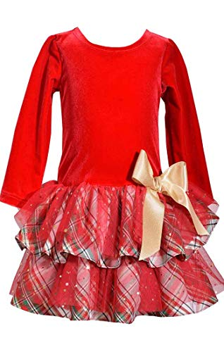 Holiday Dresses Hot - Bonnie Jean Girls Christmas Holidays Hot Mesh-Christmas Dress 4-6X (5)