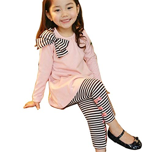 Glam Girl T-shirts - Royarebar Timeless Glam Baby Girl Bowknot T-Shirt Top with Pants Leggings Trousers Outfit Clothing Suit (Color : Pink, Size : 100)