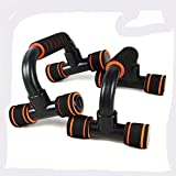HDWY Push-Up Bar Stand Foam Handle Chest Exercise Training Sport Equipment for Men and Women Orange and black in Home Gym –1 Pair